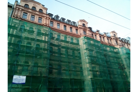 Лицевой фасада Дома Бака. Апрель 2019. Фото НРФ МИР
